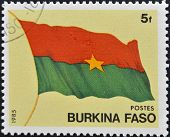 stamp printed in Burkina Faso shows the flag