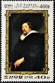 A stamp printed in DPR Korea shows self-portrait by Peter Paul Rubens