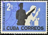 A stamp printed in cuba shows workers' militia