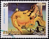 stamp printed in Spain shows The Great Masturbator by Salvador Dali