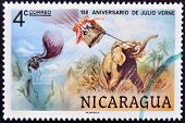 stamp printed in Nicaragua dedicated to 150 years anniversary of Jules Verne