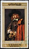 stamp printed in Yemen shows a self portrait of Rembrandt