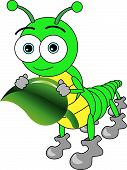 Cute dibujos animados grandes ojos Caterpillar sosteniendo una hoja