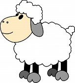 Cute Looking Cartoon Happy Sheep