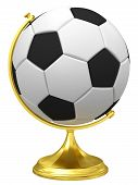 Soccer Ball As Terrestrial Globe On Golden Stand