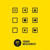 Square Music Icon Set - Vector Illustration - Play Stop Record