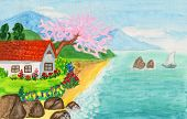 image of judas tree  - House in Crimea hand painted picture watercolours - JPG