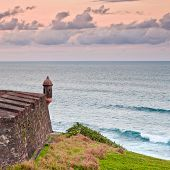 Lookout Tower At El Morro Castle Fort In Old San Juan, Puerto Rico