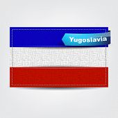 image of yugoslavia  - Fabric texture of the flag of Yugoslavia with a blue bow - JPG