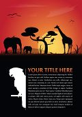 Vector abstract background for poster or brochure with african animals silhouettes and place for text