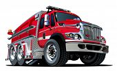 stock photo of big-rig  - Vector Cartoon Fire Truck Hotrod - JPG