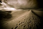 stock photo of barchan  - Night in the desert sand dunes - JPG