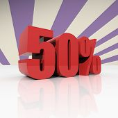 Discount Fifty Percent On Violet Background