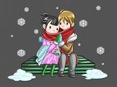 Cute Couple Sharing Their Warmth In Romantic Winter Night