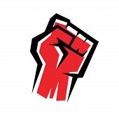 foto of revolt  - fist stylized isolated vector icon revolution concept - JPG