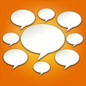 Chat Bubbles Conversation On Orange Background