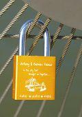 Love lock at the Brooklyn Bridge