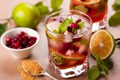 Christmas cranberry and brown sugar mojito