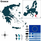 stock photo of piraeus  - Vector set of Greece country shape with flags icons isolated and European Union - JPG