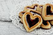 Group Of Heart Shaped Shortbread Cookies
