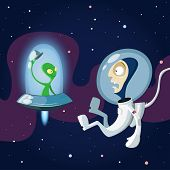 Unexpected Meeting Of Spaceman And Alien In Space