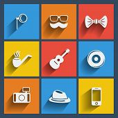 Set of 9 hipster web and mobile icons. Vector.