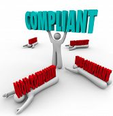 One person lifts the word Compliant and others are crushed by non-compliance, as the winner follows rules and regulations and stays out of legal trouble