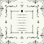 foto of motif  - Vector set of decorative horizontal floral elements corners borders frame  - JPG