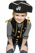 picture of pirate girl  - Grinning little girl wearing pirate costume over white background - JPG
