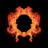 Ring of Blazing flames over black background