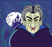 picture of dracula  - Halloween invitation or halloween card with dracula and dark castle  - JPG