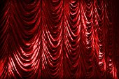 Illuminated Red Curtain Background Texture