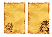 Set of ancient parchments with American Indian national patterns. Isolated on white background