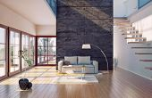 Beautiful modern living room interior (cg illustration)