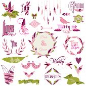 Wedding Design Elements - feathers, birds, arrows, ribbons, wreath - in vector