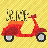 red vintage scooter, delivery illustration