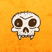 Cartoon Skeleton Skull with Mustache. Cute Hand Drawn Vector illustration, Vintage Paper Texture Background