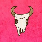 foto of cow skeleton  - Cartoon Skeleton Skull with Mustache - JPG