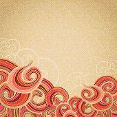 Red waves on cardboard vintage