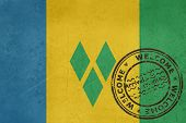 Welcome to Saint Vincent and the Grenadines flag with passport stamp