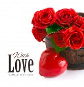 bouquet red roses with heart isolated on white background