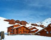 Mountain ski resort with snow in winter, Val Thorens, Alps, France