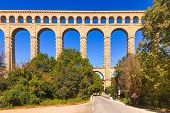 Roquefavour Historic Old Aqueduct Landmark In Provence, France.