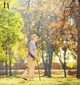 Full length portrait of a senior gentleman walking with a cane in a park, shot with a tilt and shift lens