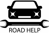 road help sign with black car and tools for repair