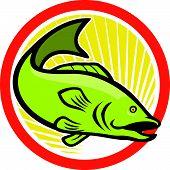 Largemouth Bass Jumping Cartoon Circle