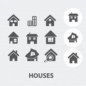 cute house, home icons, signs set, vector