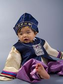 stock photo of hanbok  - male Korean baby in traditional Hanbok clothing - JPG