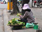 Flower vendor at the flower small market in Hanoi, Vietnam.