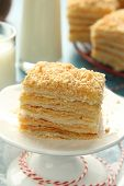Layer Cake From  Puff Pastry With Custard Cream